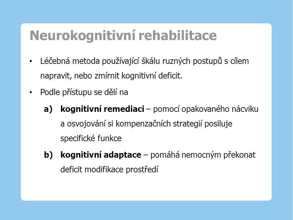 Neurokognitivní rehabilitace Léčebná metoda používající škálu ruzných postupů s cílem napravit, nebo zmírnit kognitivní deficit. Podle přístupu se děl
