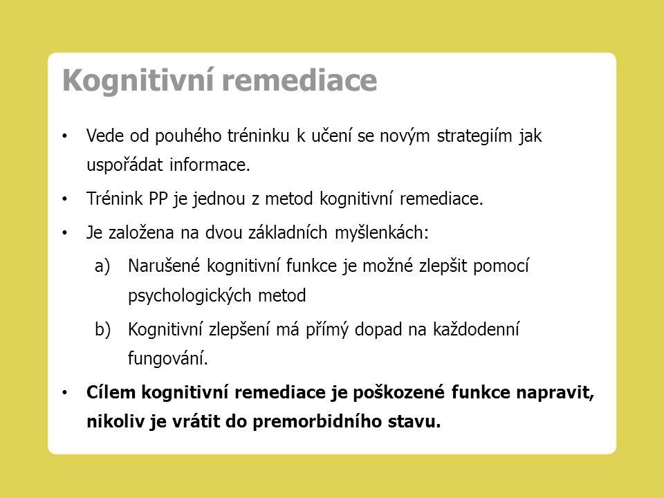 Kognitivní remediace Vede od pouhého tréninku k učení se novým strategiím jak uspořádat informace. Trénink PP je jednou z metod kognitivní remediace.