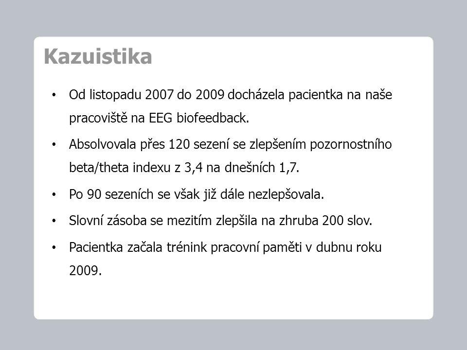 Kazuistika Od listopadu 2007 do 2009 docházela pacientka na naše pracoviště na EEG biofeedback. Absolvovala přes 120 sezení se zlepšením pozornostního