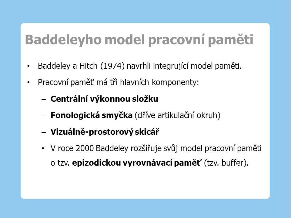 Baddeleyho model pracovní paměti Baddeley a Hitch (1974) navrhli integrující model paměti. Pracovní paměť má tři hlavních komponenty: – Centrální výko