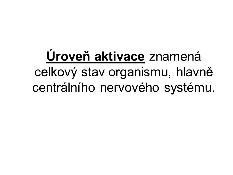 Úroveň aktivace znamená celkový stav organismu, hlavně centrálního nervového systému.