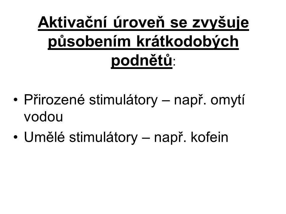 Rozlišujeme stupně aktivace: 1.nízká - spánek 2. snížená – např.