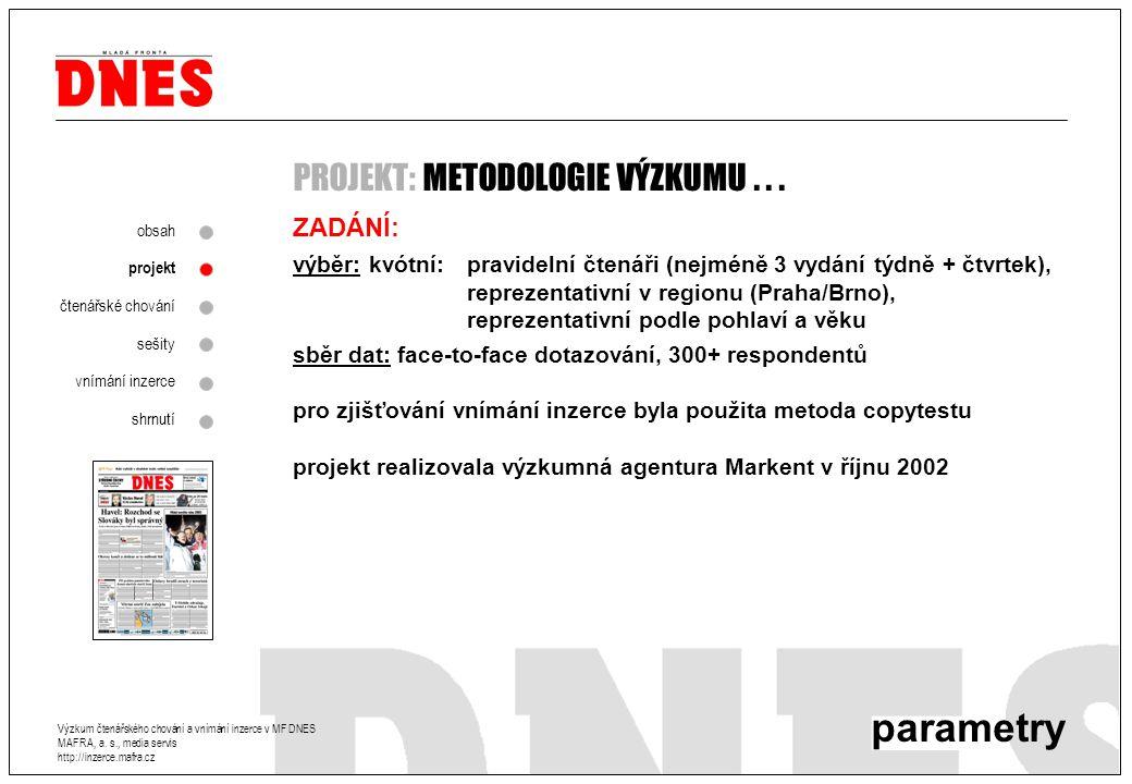 Metodologie ZADÁNÍ: výběr: kvótní:pravidelní čtenáři (nejméně 3 vydání týdně + čtvrtek), reprezentativní v regionu (Praha/Brno), reprezentativní podle pohlaví a věku sběr dat: face-to-face dotazování, 300+ respondentů pro zjišťování vnímání inzerce byla použita metoda copytestu projekt realizovala výzkumná agentura Markent v říjnu 2002 parametry PROJEKT: METODOLOGIE VÝZKUMU...