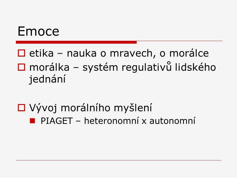 Emoce  etika – nauka o mravech, o morálce  morálka – systém regulativů lidského jednání  Vývoj morálního myšlení PIAGET – heteronomní x autonomní