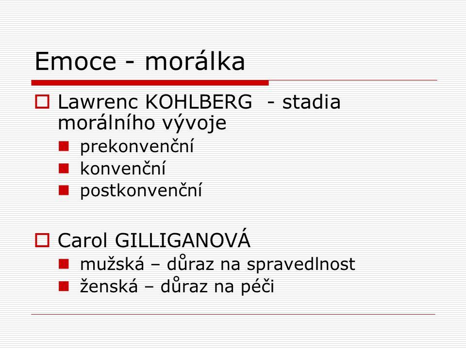 Emoce - morálka  Lawrenc KOHLBERG - stadia morálního vývoje prekonvenční konvenční postkonvenční  Carol GILLIGANOVÁ mužská – důraz na spravedlnost ženská – důraz na péči