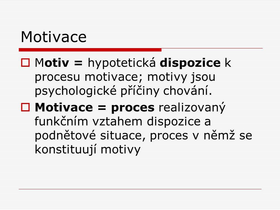 Motivace  Motiv = hypotetická dispozice k procesu motivace; motivy jsou psychologické příčiny chování.