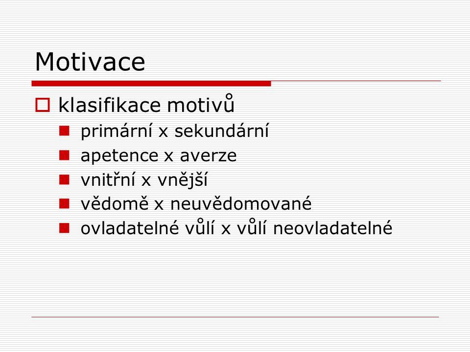 Motivace  klasifikace motivů primární x sekundární apetence x averze vnitřní x vnější vědomě x neuvědomované ovladatelné vůlí x vůlí neovladatelné