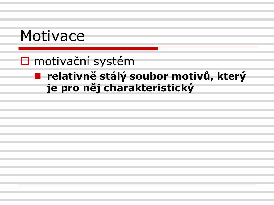 Motivace  motivační systém relativně stálý soubor motivů, který je pro něj charakteristický