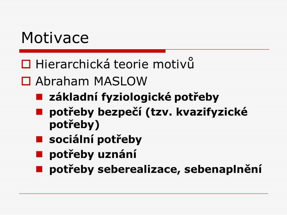 Motivace  Hierarchická teorie motivů  Abraham MASLOW základní fyziologické potřeby potřeby bezpečí (tzv.