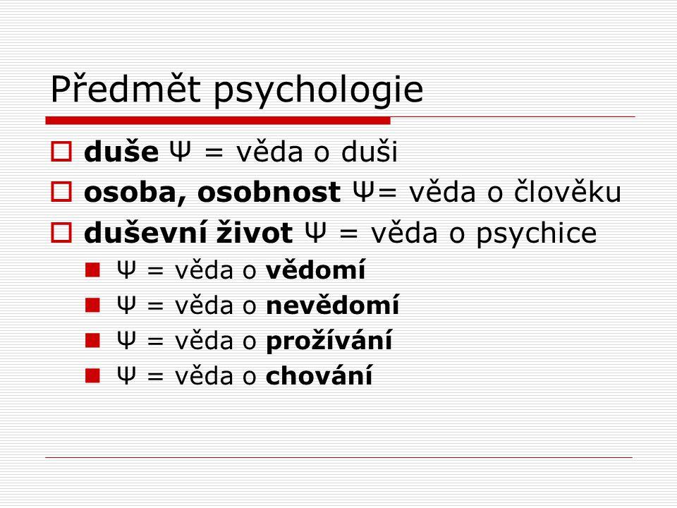 Předmět psychologie  duše Ψ = věda o duši  osoba, osobnost Ψ= věda o člověku  duševní život Ψ = věda o psychice Ψ = věda o vědomí Ψ = věda o nevědomí Ψ = věda o prožívání Ψ = věda o chování