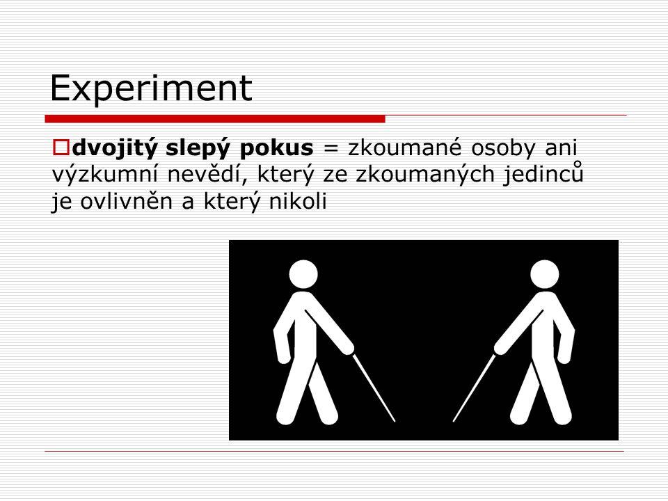 Experiment  dvojitý slepý pokus = zkoumané osoby ani výzkumní nevědí, který ze zkoumaných jedinců je ovlivněn a který nikoli