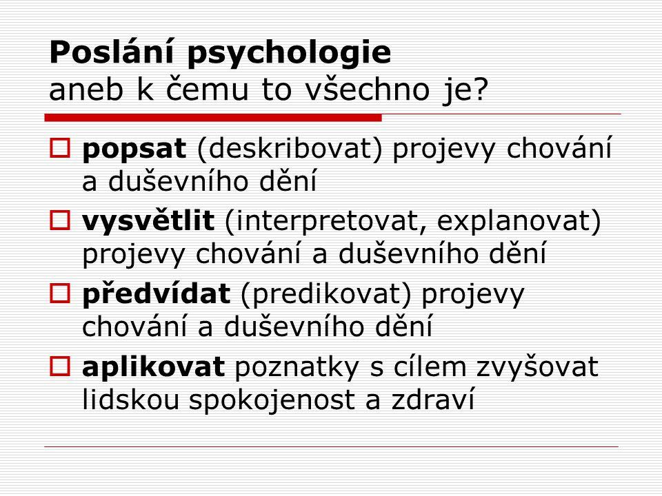 Poslání psychologie aneb k čemu to všechno je.