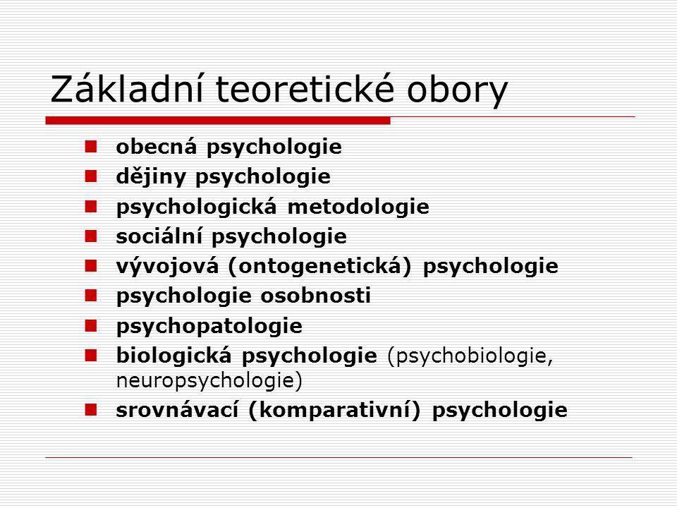 Základní teoretické obory obecná psychologie dějiny psychologie psychologická metodologie sociální psychologie vývojová (ontogenetická) psychologie psychologie osobnosti psychopatologie biologická psychologie (psychobiologie, neuropsychologie) srovnávací (komparativní) psychologie