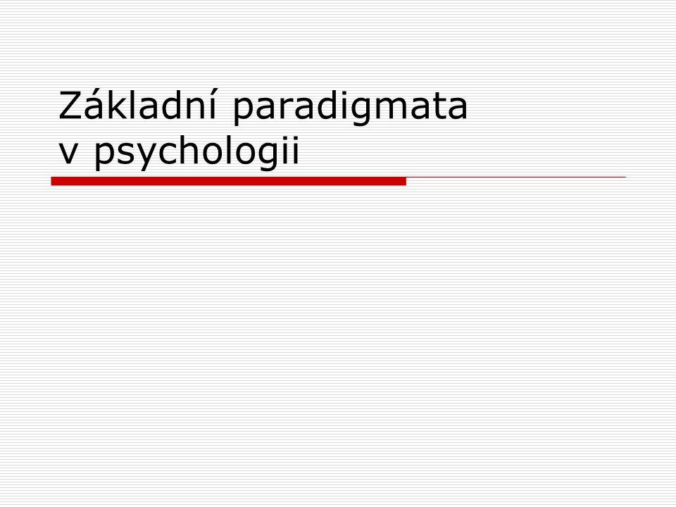 Základní paradigmata v psychologii