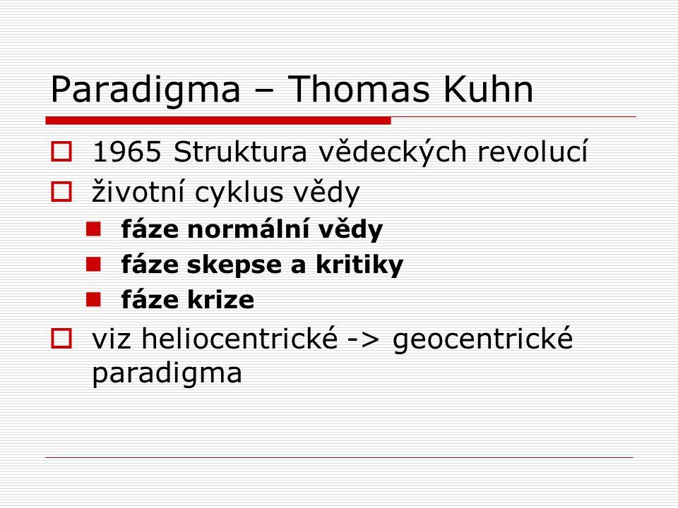 Paradigma – Thomas Kuhn  1965 Struktura vědeckých revolucí  životní cyklus vědy fáze normální vědy fáze skepse a kritiky fáze krize  viz heliocentrické -> geocentrické paradigma