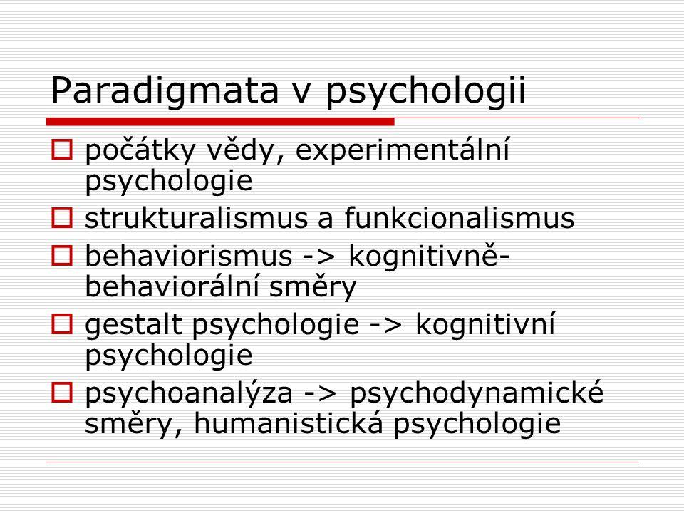 Paradigmata v psychologii  počátky vědy, experimentální psychologie  strukturalismus a funkcionalismus  behaviorismus -> kognitivně- behaviorální směry  gestalt psychologie -> kognitivní psychologie  psychoanalýza -> psychodynamické směry, humanistická psychologie