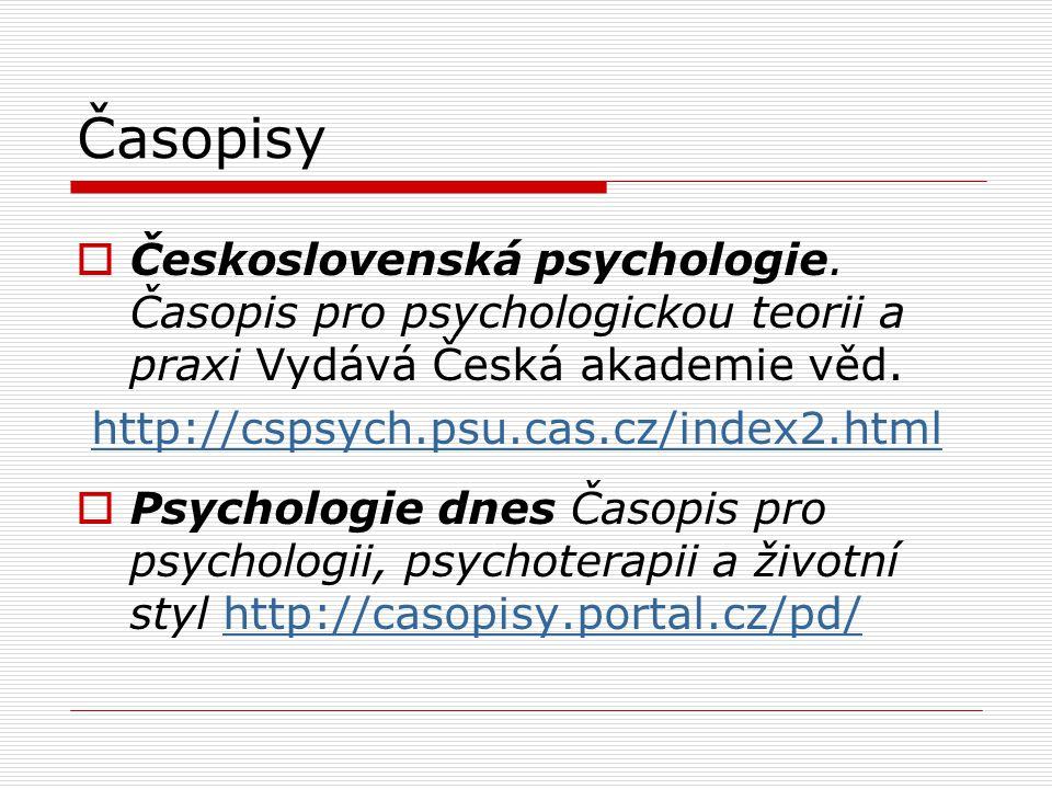 Časopisy  Československá psychologie.