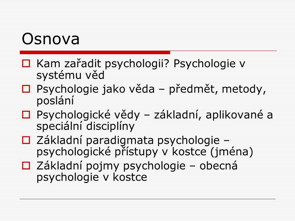 Osnova  Kam zařadit psychologii.