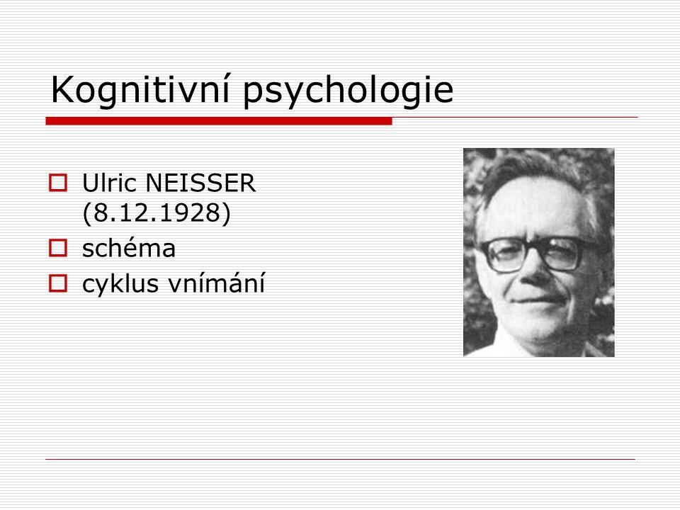 Kognitivní psychologie  Ulric NEISSER (8.12.1928)  schéma  cyklus vnímání