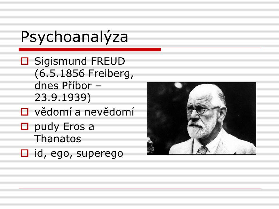 Psychoanalýza  Sigismund FREUD (6.5.1856 Freiberg, dnes Příbor – 23.9.1939)  vědomí a nevědomí  pudy Eros a Thanatos  id, ego, superego