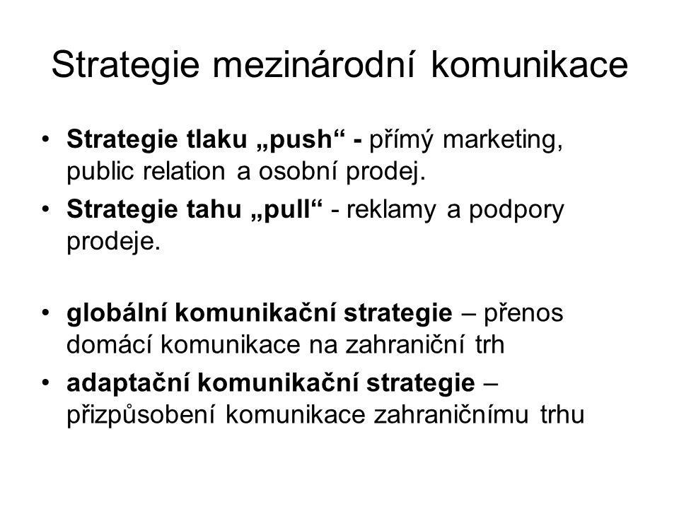 Řízení marketingové komunikace Mezinárodní komunikační mix: Reklama Podpora prodeje Přímý marketing Public relation Osobní prodej +Veletrhy a výstavy Metody stanovení rozpočtu komunikační strategie: Metoda zůstatkového rozpočtu Metoda sestavení rozpočtu procentem z příjmů Metoda konkurenční rovnosti Metoda cíl a úkol