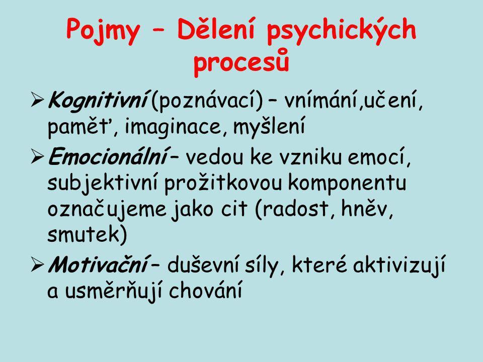 Pojmy – Dělení psychických procesů  Kognitivní (poznávací) – vnímání,učení, paměť, imaginace, myšlení  Emocionální – vedou ke vzniku emocí, subjekti