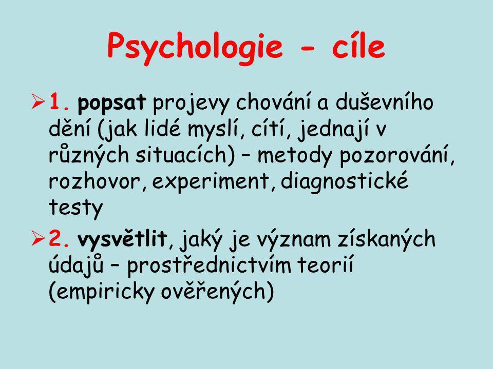 Psychologie - cíle  1. popsat projevy chování a duševního dění (jak lidé myslí, cítí, jednají v různých situacích) – metody pozorování, rozhovor, exp