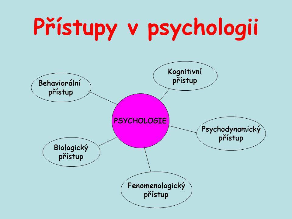 Přístupy v psychologii PSYCHOLOGIE Behaviorální přístup Kognitivní přístup Biologický přístup Fenomenologický přístup Psychodynamický přístup