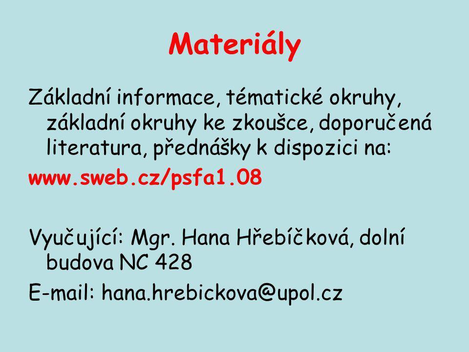 Materiály Základní informace, tématické okruhy, základní okruhy ke zkoušce, doporučená literatura, přednášky k dispozici na: www.sweb.cz/psfa1.08 Vyuč