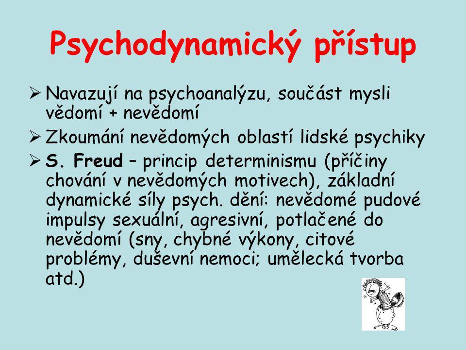 Psychodynamický přístup  Navazují na psychoanalýzu, součást mysli vědomí + nevědomí  Zkoumání nevědomých oblastí lidské psychiky  S. Freud – princi