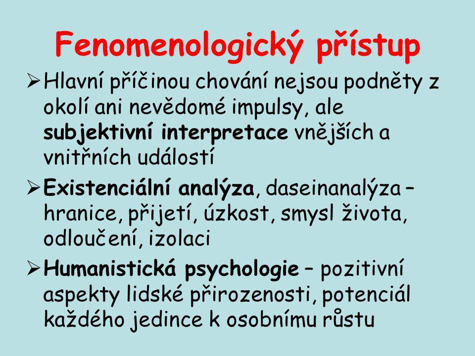 Fenomenologický přístup  Hlavní příčinou chování nejsou podněty z okolí ani nevědomé impulsy, ale subjektivní interpretace vnějších a vnitřních událo