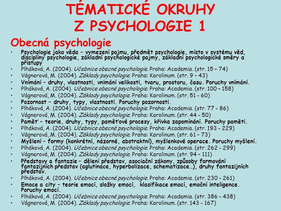 TÉMATICKÉ OKRUHY Z PSYCHOLOGIE 1 Obecná psychologie Psychologie jako věda – vymezení pojmu, předmět psychologie, místo v systému věd, disciplíny psych