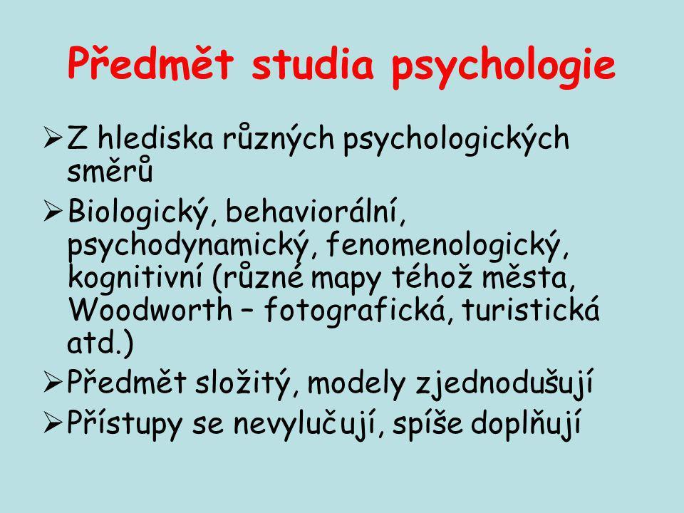 Předmět studia psychologie  Z hlediska různých psychologických směrů  Biologický, behaviorální, psychodynamický, fenomenologický, kognitivní (různé