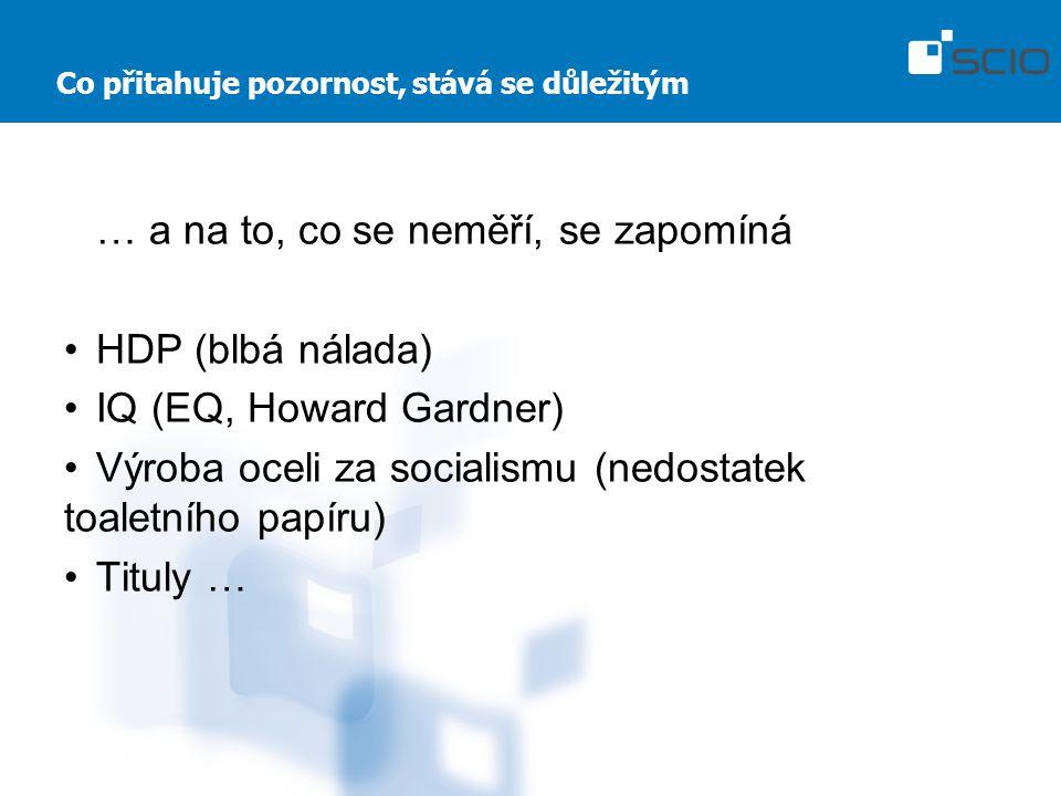 Co přitahuje pozornost, stává se důležitým … a na to, co se neměří, se zapomíná HDP (blbá nálada) IQ (EQ, Howard Gardner) Výroba oceli za socialismu (nedostatek toaletního papíru) Tituly …