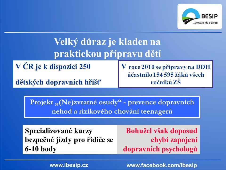 Velký důraz je kladen na praktickou přípravu dětí V ČR je k dispozici 250 dětských dopravních hřišť.