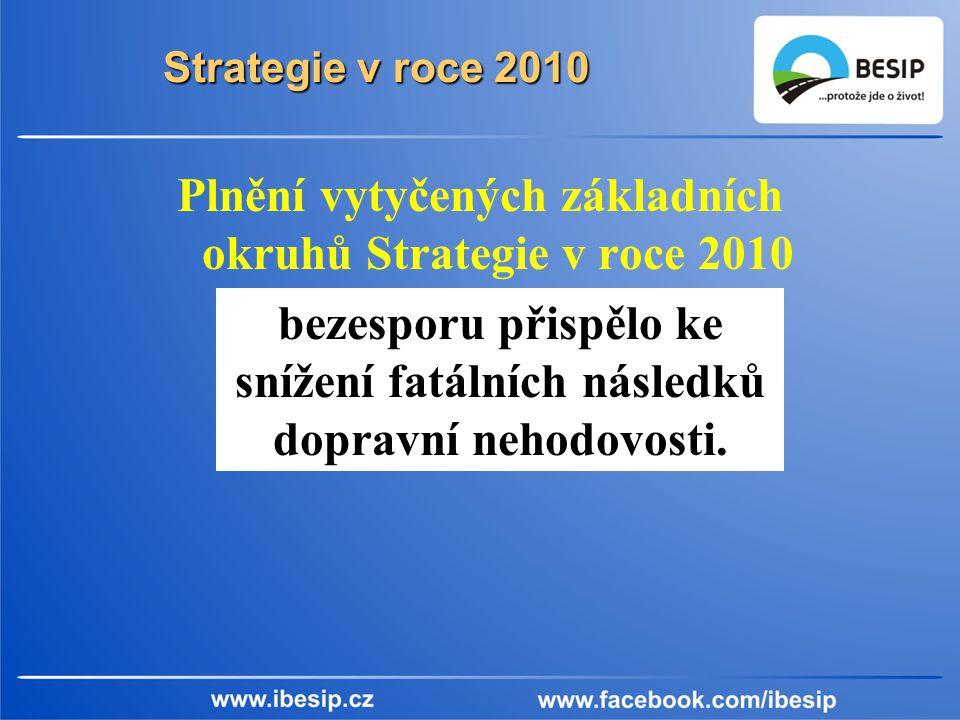 Strategie v roce 2010 Plnění vytyčených základních okruhů Strategie v roce 2010 bezesporu přispělo ke snížení fatálních následků dopravní nehodovosti.