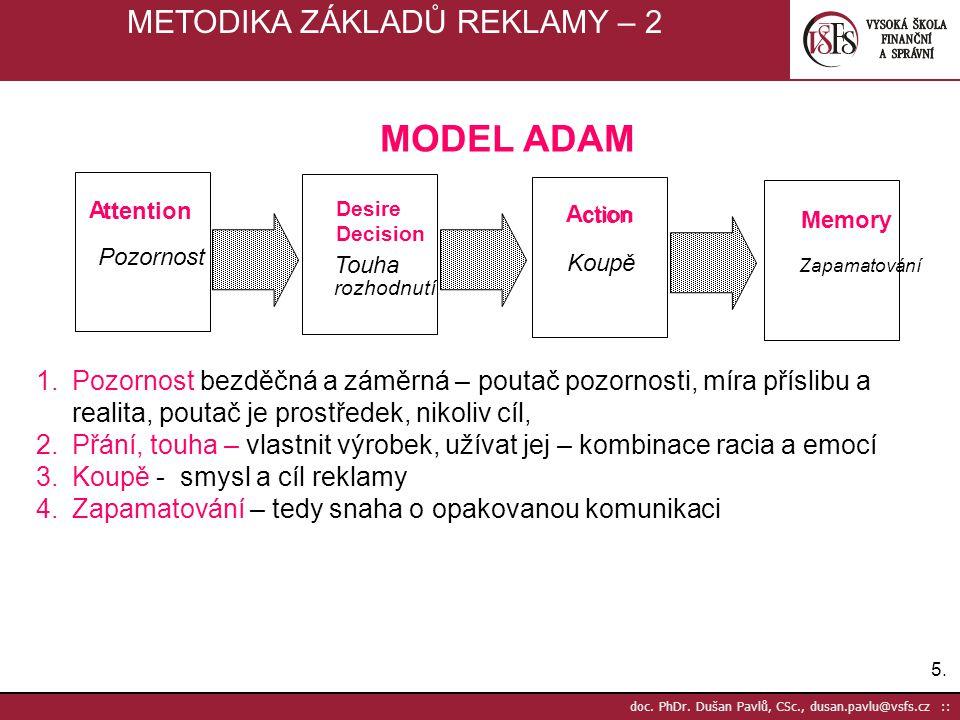 5.5. doc. PhDr. Dušan Pavlů, CSc., dusan.pavlu@vsfs.cz :: METODIKA ZÁKLADŮ REKLAMY – 2 A ttention Desire Decision A ction ction Memory Pozornost Touha