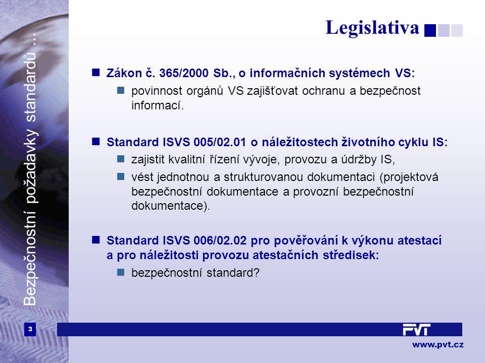 3 www.pvt.cz Bezpečnostní požadavky standardů... Legislativa Zákon č.