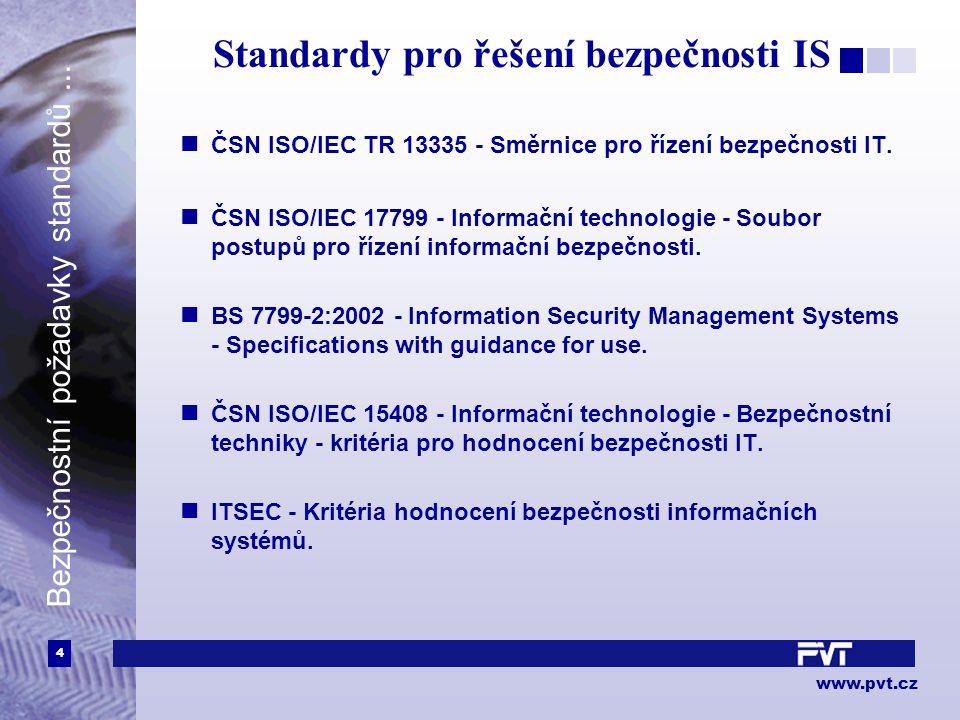 5 www.pvt.cz Bezpečnostní požadavky standardů...