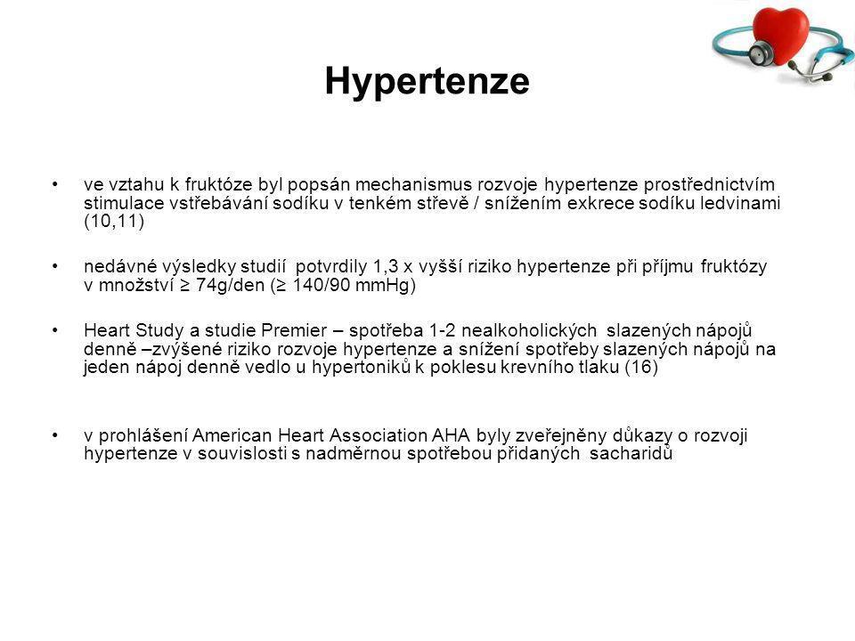 Hypertenze ve vztahu k fruktóze byl popsán mechanismus rozvoje hypertenze prostřednictvím stimulace vstřebávání sodíku v tenkém střevě / snížením exkrece sodíku ledvinami (10,11) nedávné výsledky studií potvrdily 1,3 x vyšší riziko hypertenze při příjmu fruktózy v množství ≥ 74g/den (≥ 140/90 mmHg) Heart Study a studie Premier – spotřeba 1-2 nealkoholických slazených nápojů denně –zvýšené riziko rozvoje hypertenze a snížení spotřeby slazených nápojů na jeden nápoj denně vedlo u hypertoniků k poklesu krevního tlaku (16) v prohlášení American Heart Association AHA byly zveřejněny důkazy o rozvoji hypertenze v souvislosti s nadměrnou spotřebou přidaných sacharidů