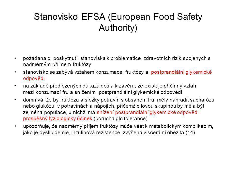 Stanovisko EFSA (European Food Safety Authority) požádána o poskytnutí stanoviska k problematice zdravotních rizik spojených s nadměrným příjmem fruktózy stanovisko se zabývá vztahem konzumace fruktózy a postprandiální glykemické odpovědi na základě předložených důkazů došla k závěru, že existuje příčinný vztah mezi konzumací fru a snížením postprandiální glykemické odpovědi domnívá, že by fruktóza a složky potravin s obsahem fru měly nahradit sacharózu nebo glukózu v potravinách a nápojích, přičemž cílovou skupinou by měla být zejména populace, u nichž má snížení postprandiální glykemické odpovědi prospěšný fyziologický účinek (porucha glc tolerance) upozorňuje, že nadměrný příjem fruktózy může vést k metabolickým komplikacím, jako je dyslipidemie, inzulinová rezistence, zvýšená viscerální obezita (14)