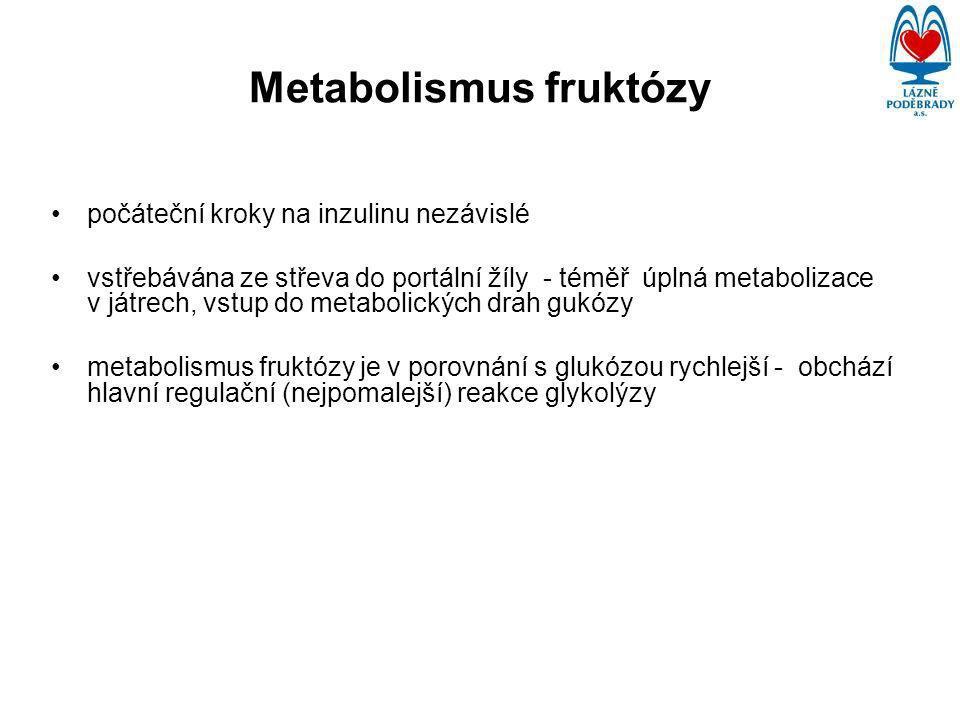 Metabolismus fruktózy počáteční kroky na inzulinu nezávislé vstřebávána ze střeva do portální žíly - téměř úplná metabolizace v játrech, vstup do metabolických drah gukózy metabolismus fruktózy je v porovnání s glukózou rychlejší - obchází hlavní regulační (nejpomalejší) reakce glykolýzy