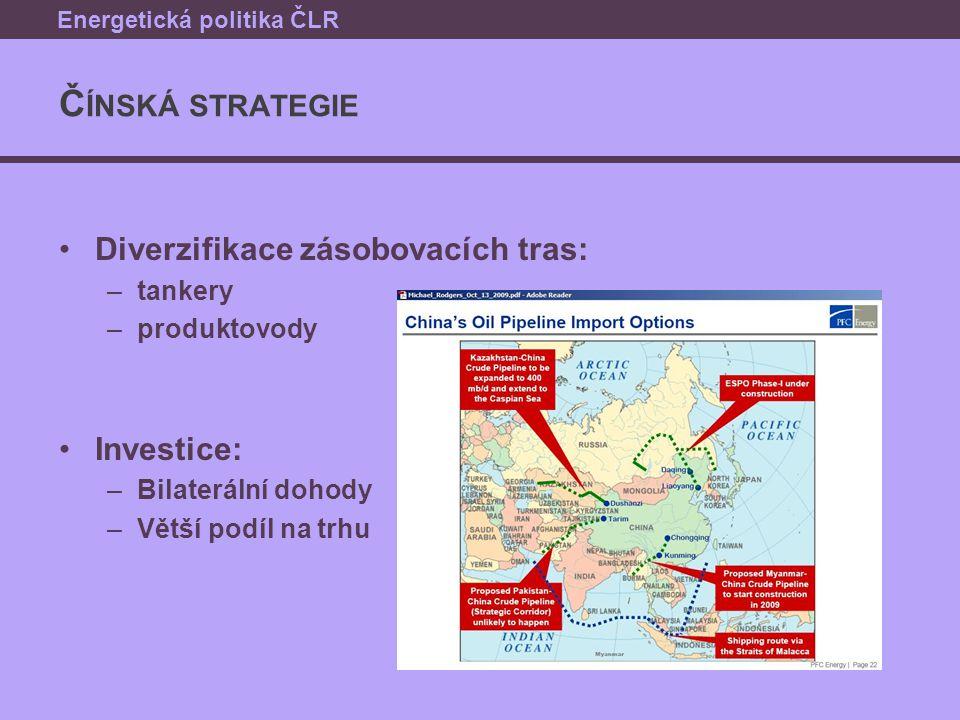 Č ÍNSKÁ STRATEGIE Diverzifikace zásobovacích tras: –tankery –produktovody Investice: –Bilaterální dohody –Větší podíl na trhu Energetická politika ČLR