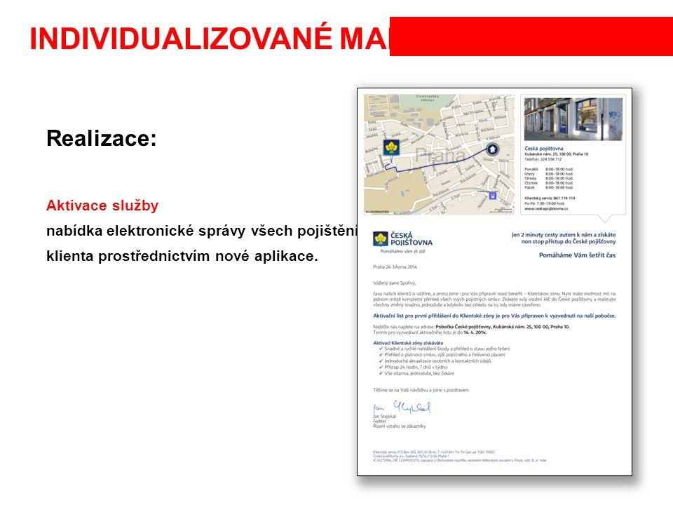 INDIVIDUALIZOVANÉ MAPY Realizace: Aktivace služby nabídka elektronické správy všech pojištění klienta prostřednictvím nové aplikace.