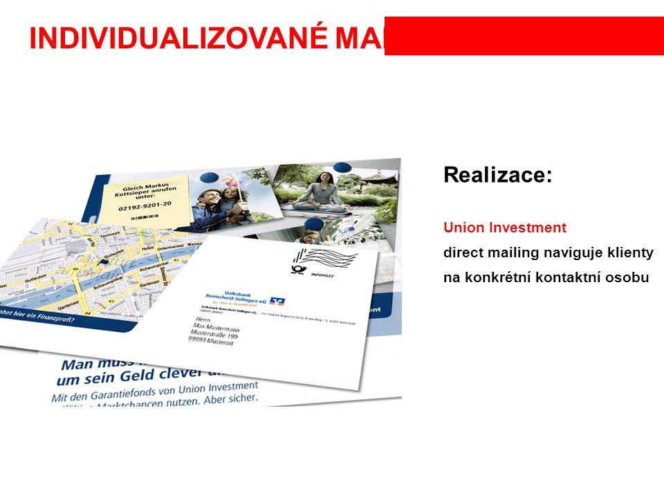 INDIVIDUALIZOVANÉ MAPY Realizace: Union Investment direct mailing naviguje klienty na konkrétní kontaktní osobu