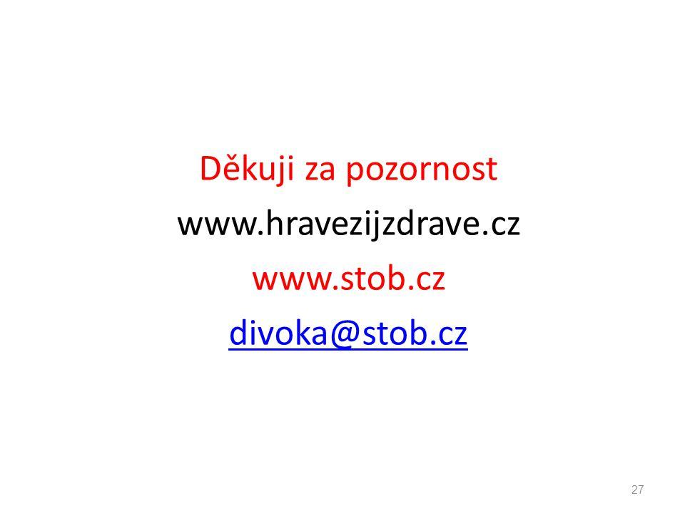 Děkuji za pozornost www.hravezijzdrave.cz www.stob.cz divoka@stob.cz 27