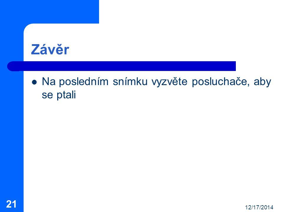 12/17/2014 21 Závěr Na posledním snímku vyzvěte posluchače, aby se ptali