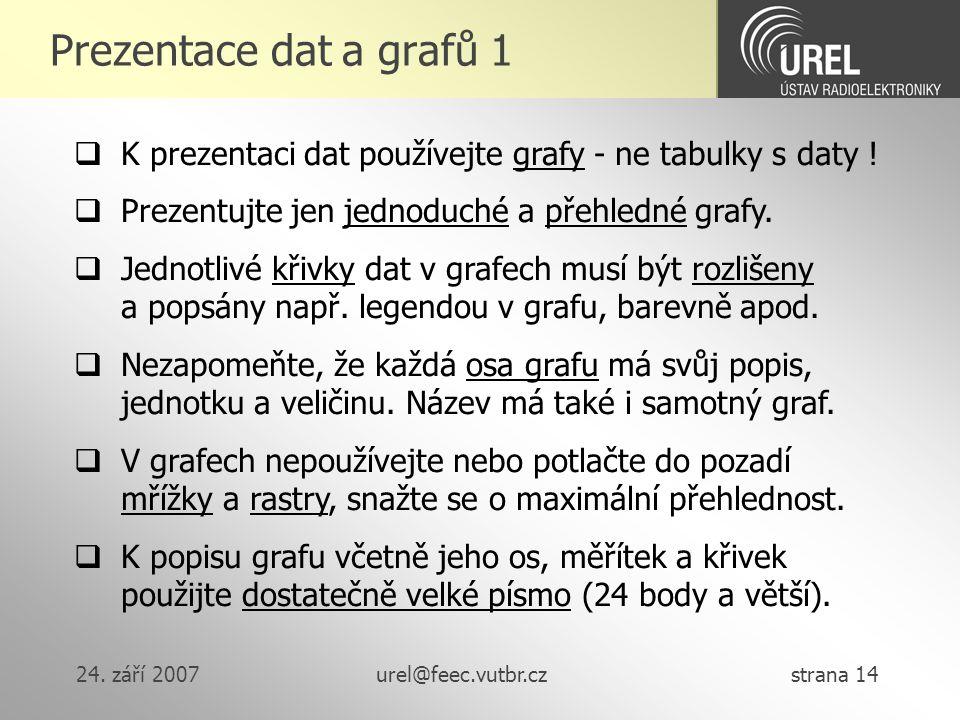 24. září 2007urel@feec.vutbr.cz strana 14 Prezentace dat a grafů 1  K prezentaci dat používejte grafy - ne tabulky s daty !  Prezentujte jen jednodu