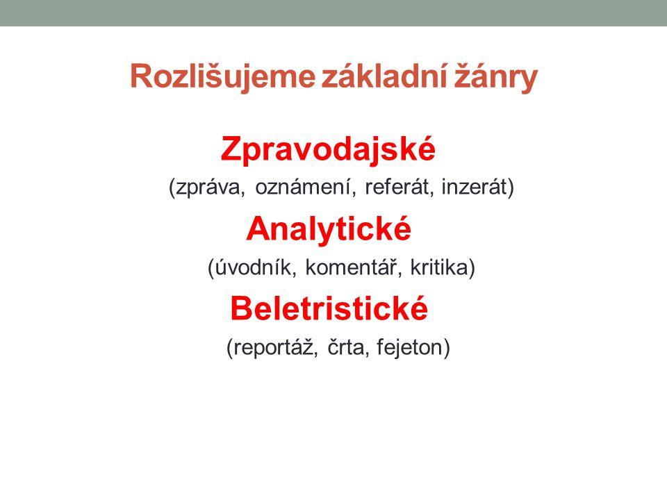 Rozlišujeme základní žánry Zpravodajské (zpráva, oznámení, referát, inzerát) Analytické (úvodník, komentář, kritika) Beletristické (reportáž, črta, fejeton)