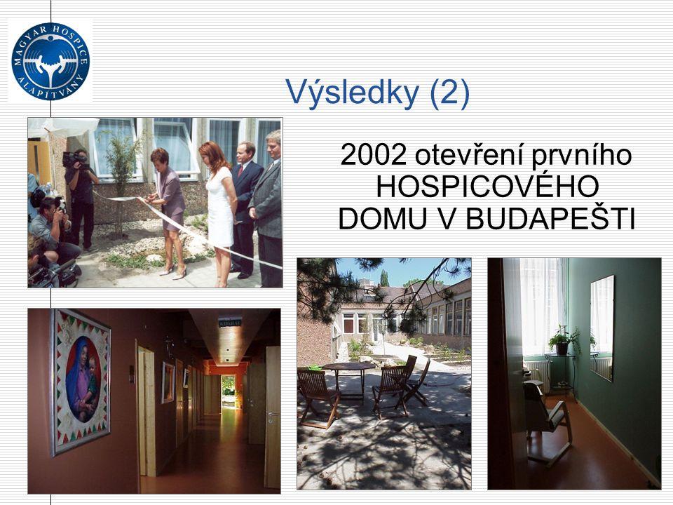 Výsledky (2)  2002 otevření prvního HOSPICOVÉHO DOMU V BUDAPEŠTI